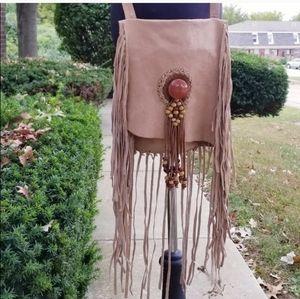 Hobo style leather fringed purse